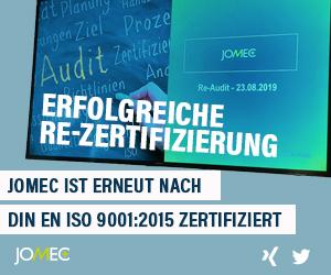 JOMEC ist erneut nach DIN EN ISO 9001:2015 zertifiziert